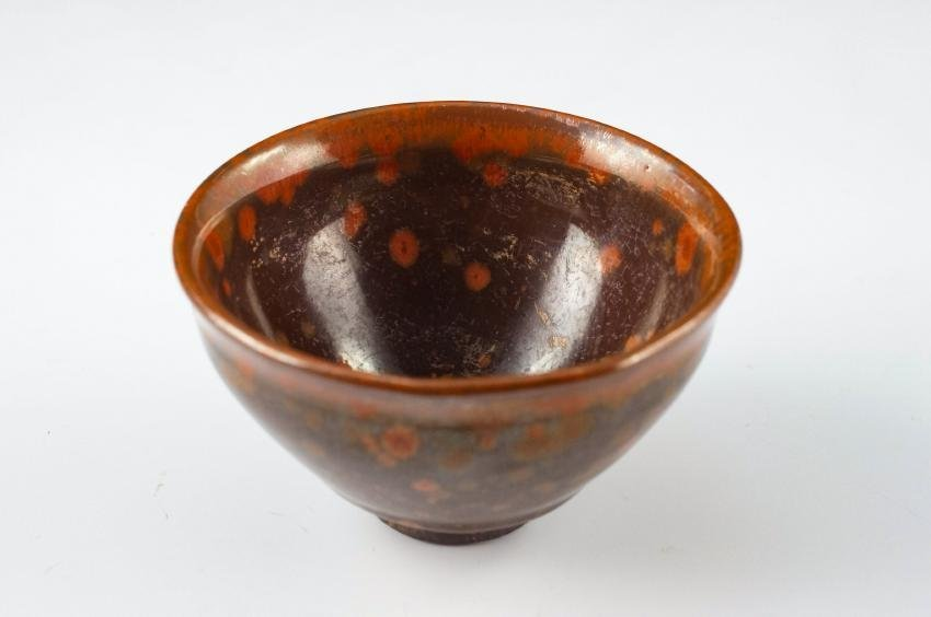 RED JIAN WARE TEA BOWL PUDDING STONE MOTIF - 2
