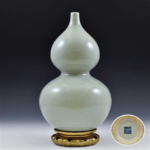 Turquoise Celadon Double Gourd Porcelain Vase On Stand