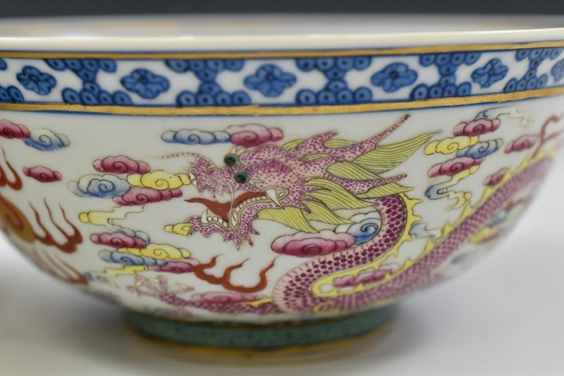 PAIR OF FAMILLE ROSE DRAGON BOWLS - 10
