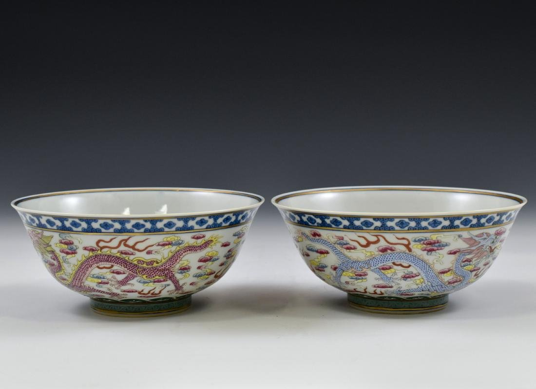 PAIR OF FAMILLE ROSE DRAGON BOWLS - 2