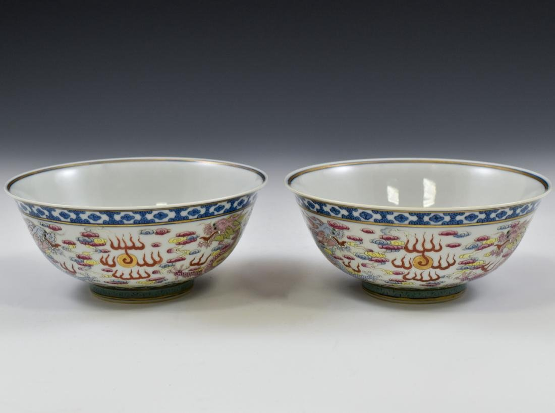 PAIR OF FAMILLE ROSE DRAGON BOWLS - 3