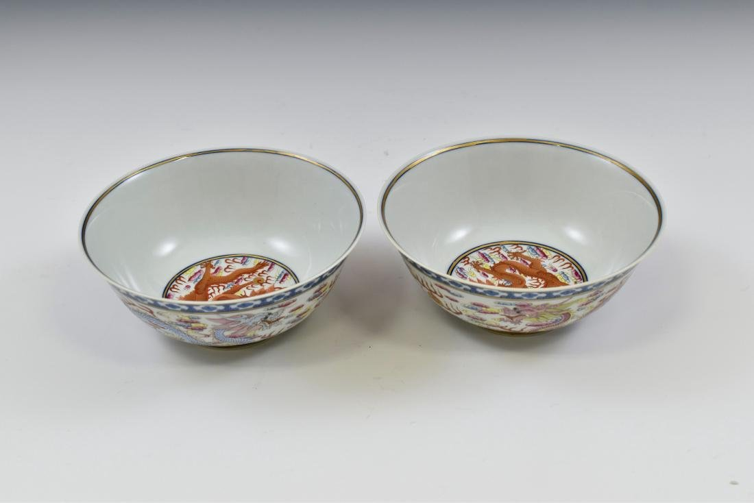 PAIR OF FAMILLE ROSE DRAGON BOWLS - 4
