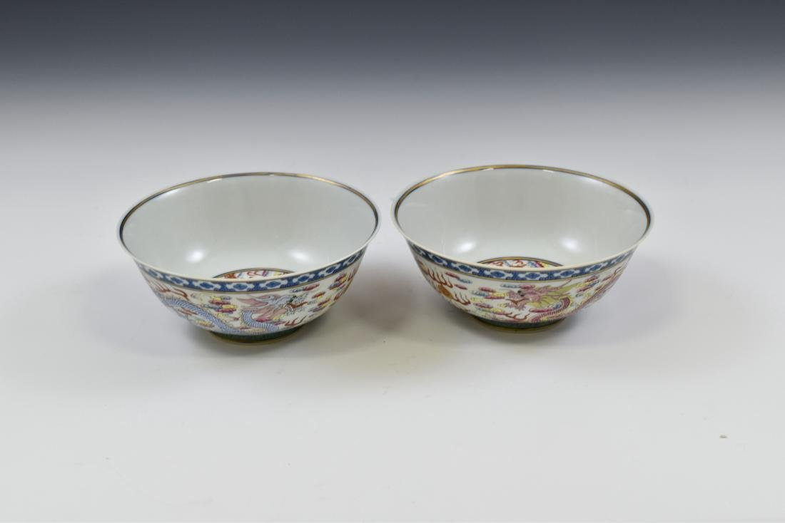 PAIR OF FAMILLE ROSE DRAGON BOWLS - 5