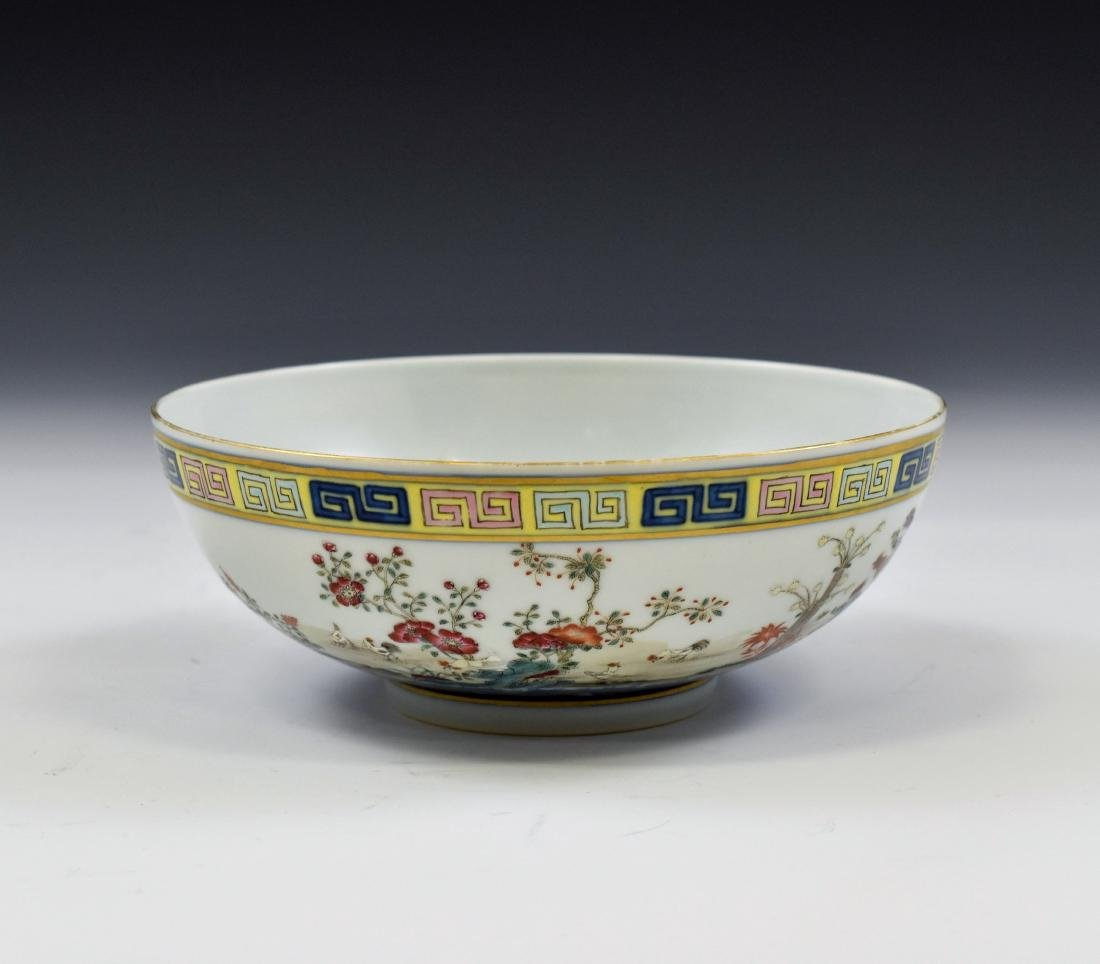 CHINESE FAMILLE ROSE CAMELIA MOTIF BOWL - 3