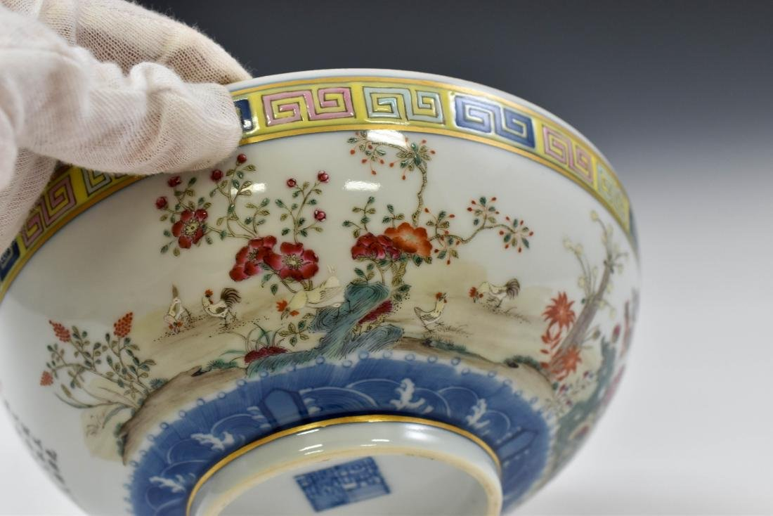CHINESE FAMILLE ROSE CAMELIA MOTIF BOWL - 8