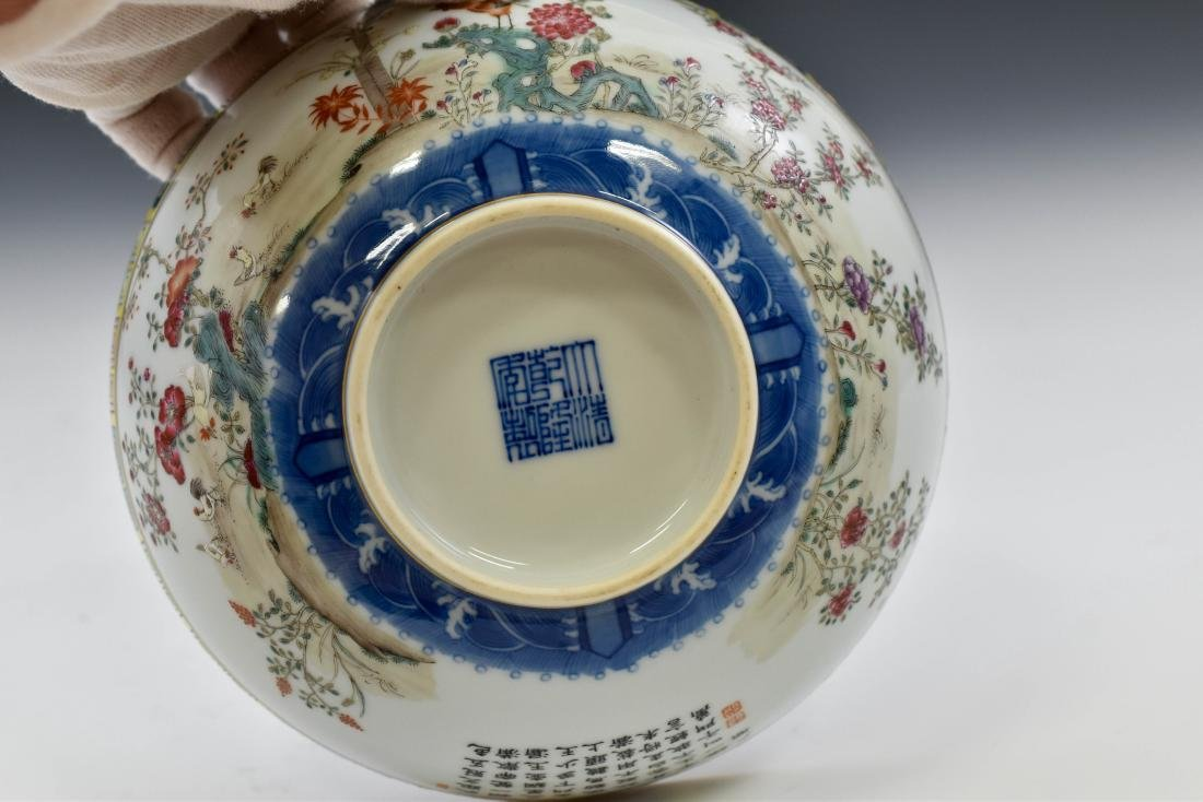 CHINESE FAMILLE ROSE CAMELIA MOTIF BOWL - 9