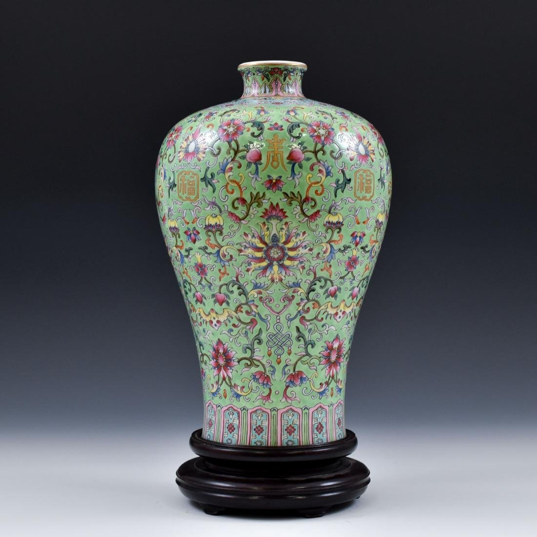 QING FAMILLE ROSE & GILT MEIPING VASE ON STAND - 2