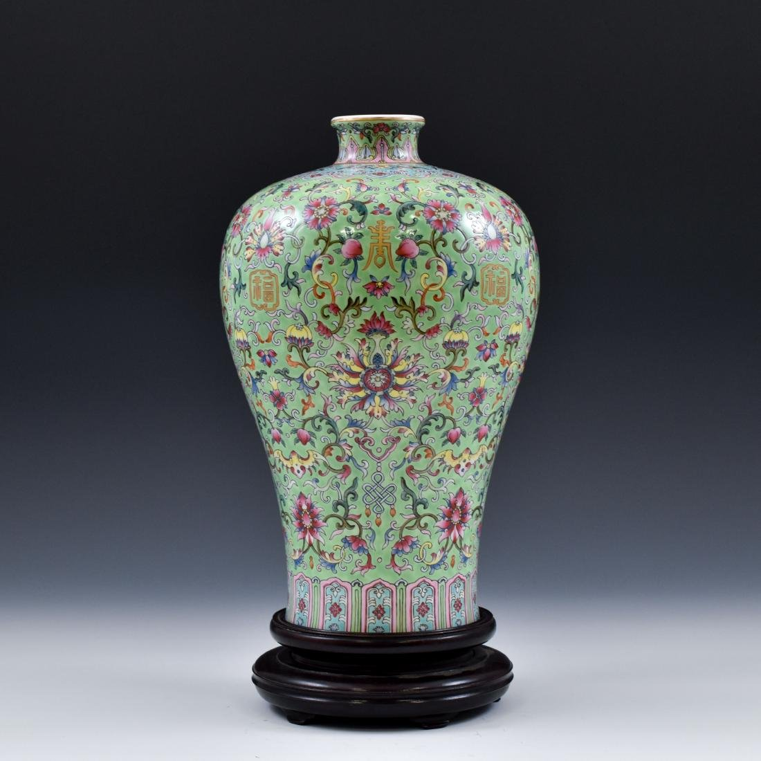 QING FAMILLE ROSE & GILT MEIPING VASE ON STAND - 3