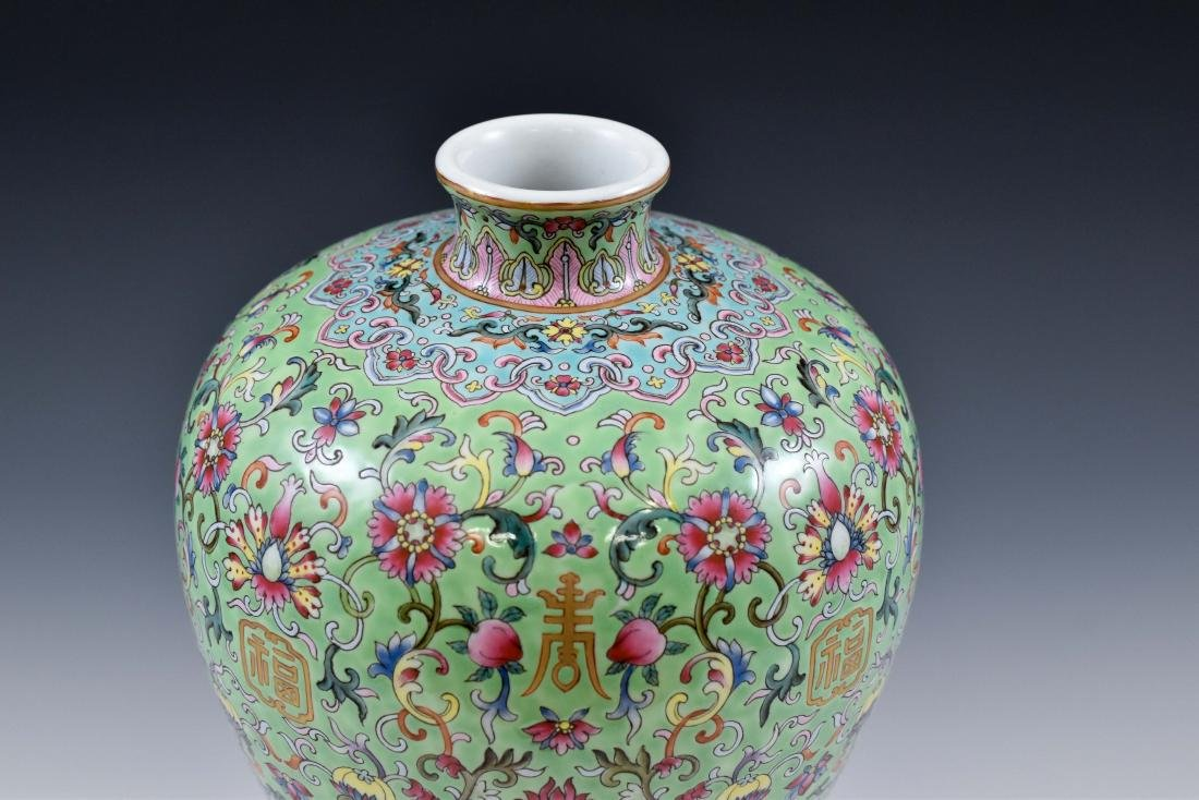 QING FAMILLE ROSE & GILT MEIPING VASE ON STAND - 4