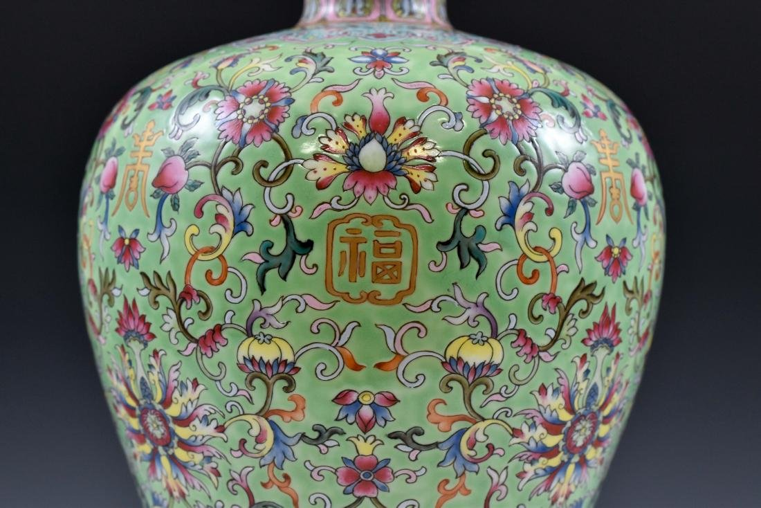 QING FAMILLE ROSE & GILT MEIPING VASE ON STAND - 6