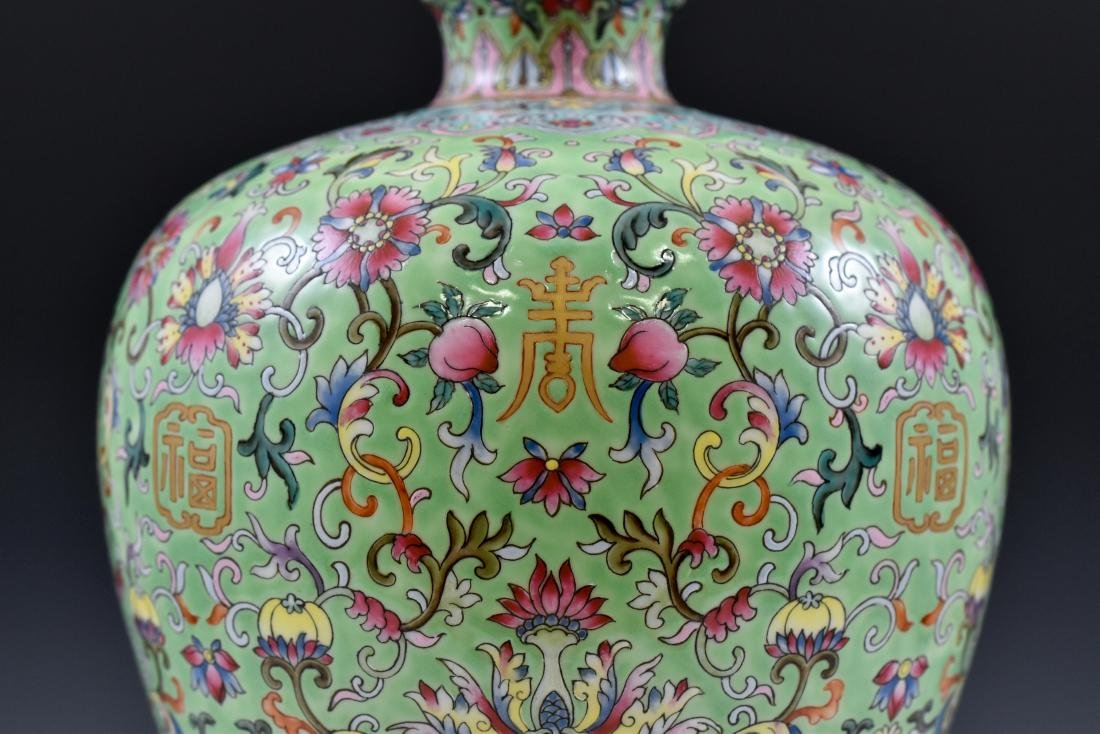 QING FAMILLE ROSE & GILT MEIPING VASE ON STAND - 7