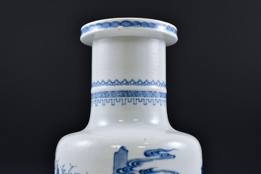 BATTLE SCENE THEMED BLUE & WHITE ROULEAU VASE - 8