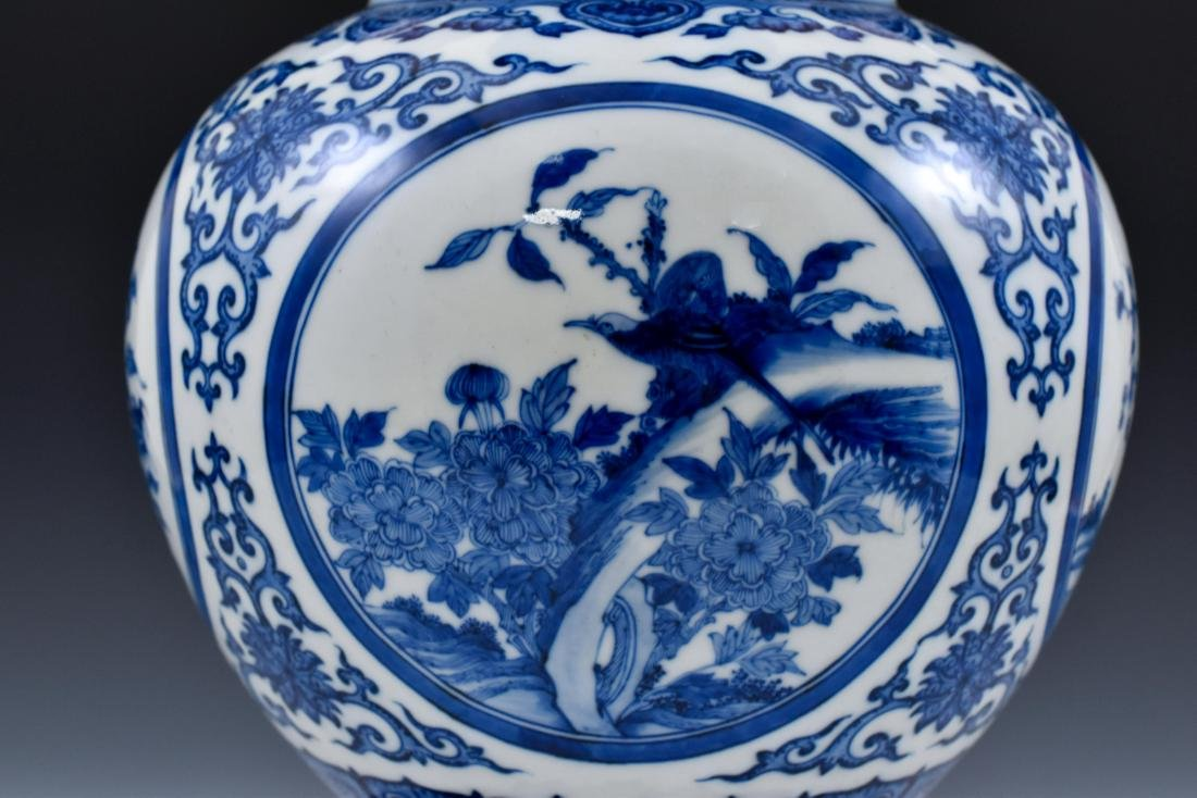 CHINESE BLUE & WHITE MAGPIE AND PLUM BLOSSOM VASE ON - 10