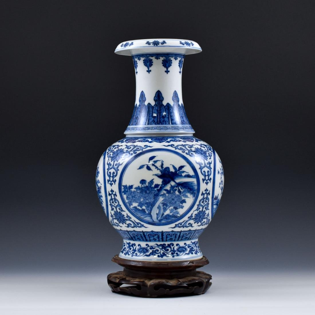CHINESE BLUE & WHITE MAGPIE AND PLUM BLOSSOM VASE ON - 2