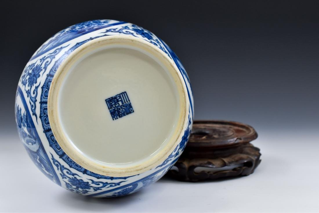 CHINESE BLUE & WHITE MAGPIE AND PLUM BLOSSOM VASE ON - 5