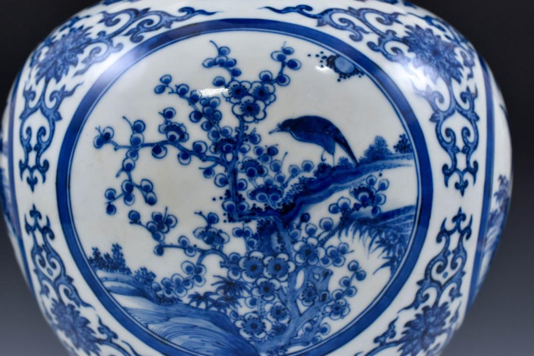 CHINESE BLUE & WHITE MAGPIE AND PLUM BLOSSOM VASE ON - 9