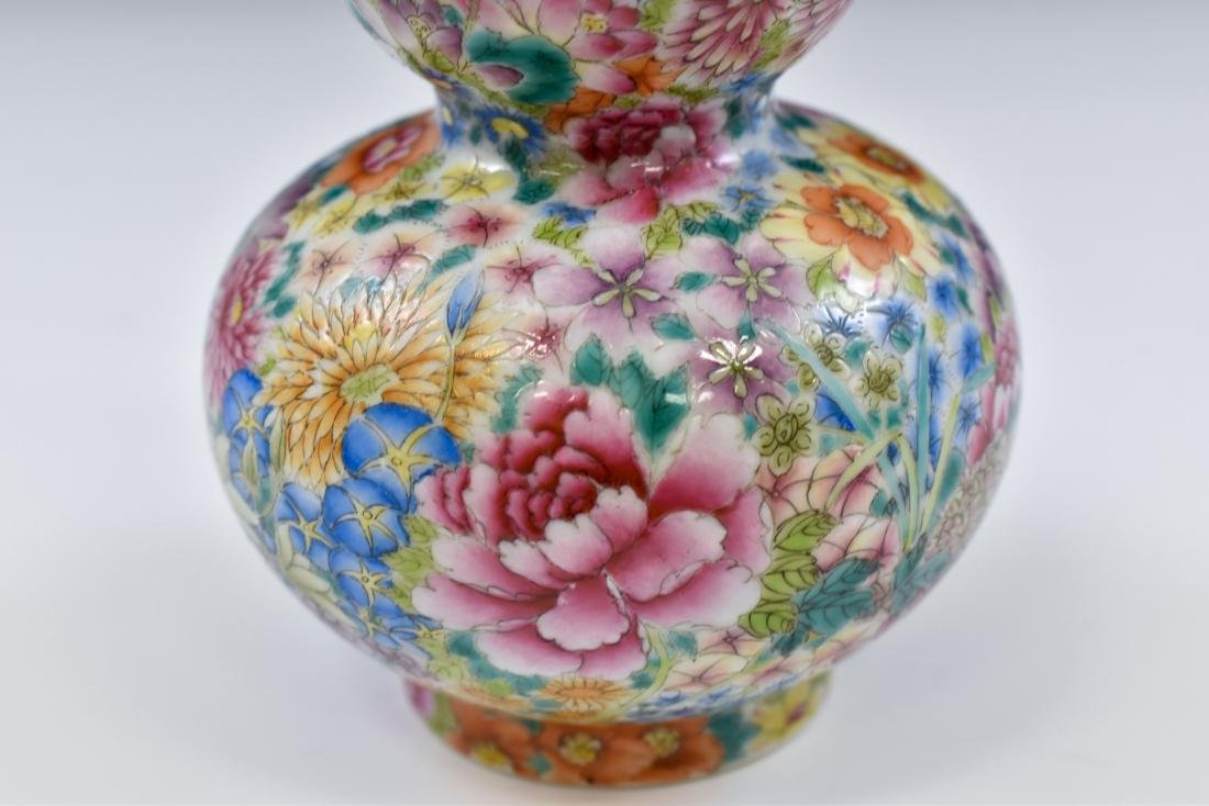 CHINESE QING MILLE FLEUR DOUBLE GOURD PORCELAIN VASE - 5