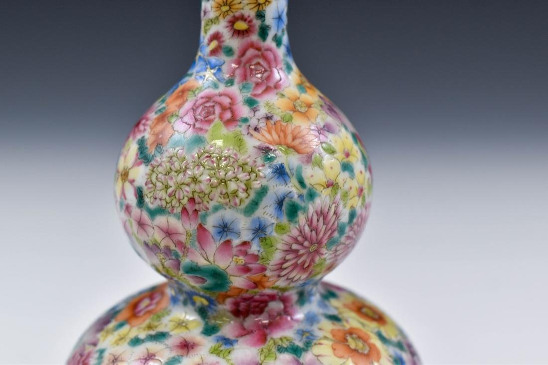 CHINESE QING MILLE FLEUR DOUBLE GOURD PORCELAIN VASE - 6