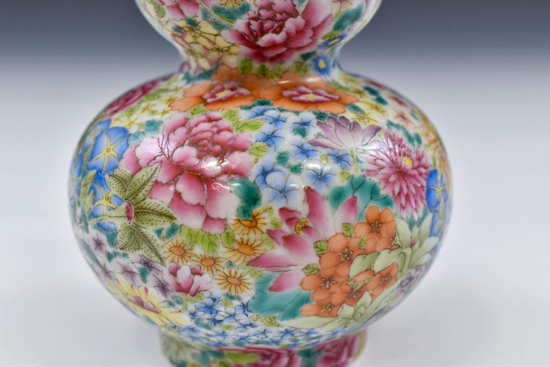 CHINESE QING MILLE FLEUR DOUBLE GOURD PORCELAIN VASE - 7