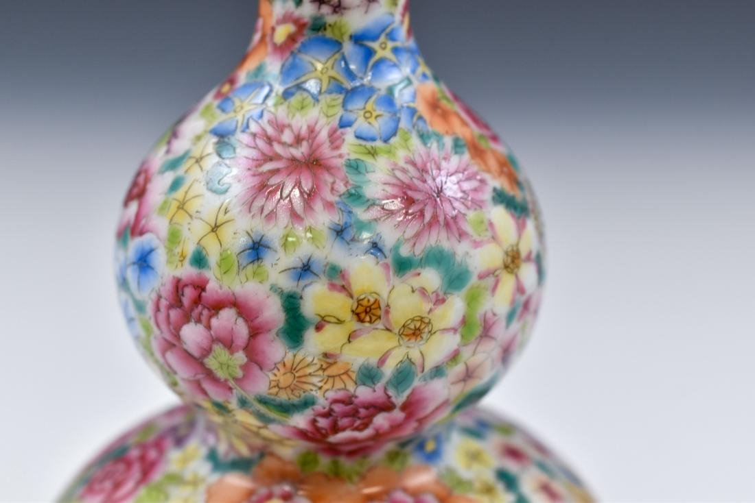 CHINESE QING MILLE FLEUR DOUBLE GOURD PORCELAIN VASE - 8