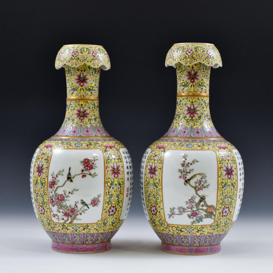 19TH C PAIR OF FAMILLE JAUNE BEGONIA PORCELAIN VASES