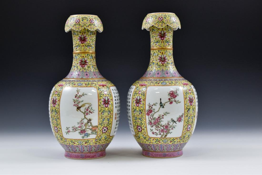 19TH C PAIR OF FAMILLE JAUNE BEGONIA PORCELAIN VASES - 4