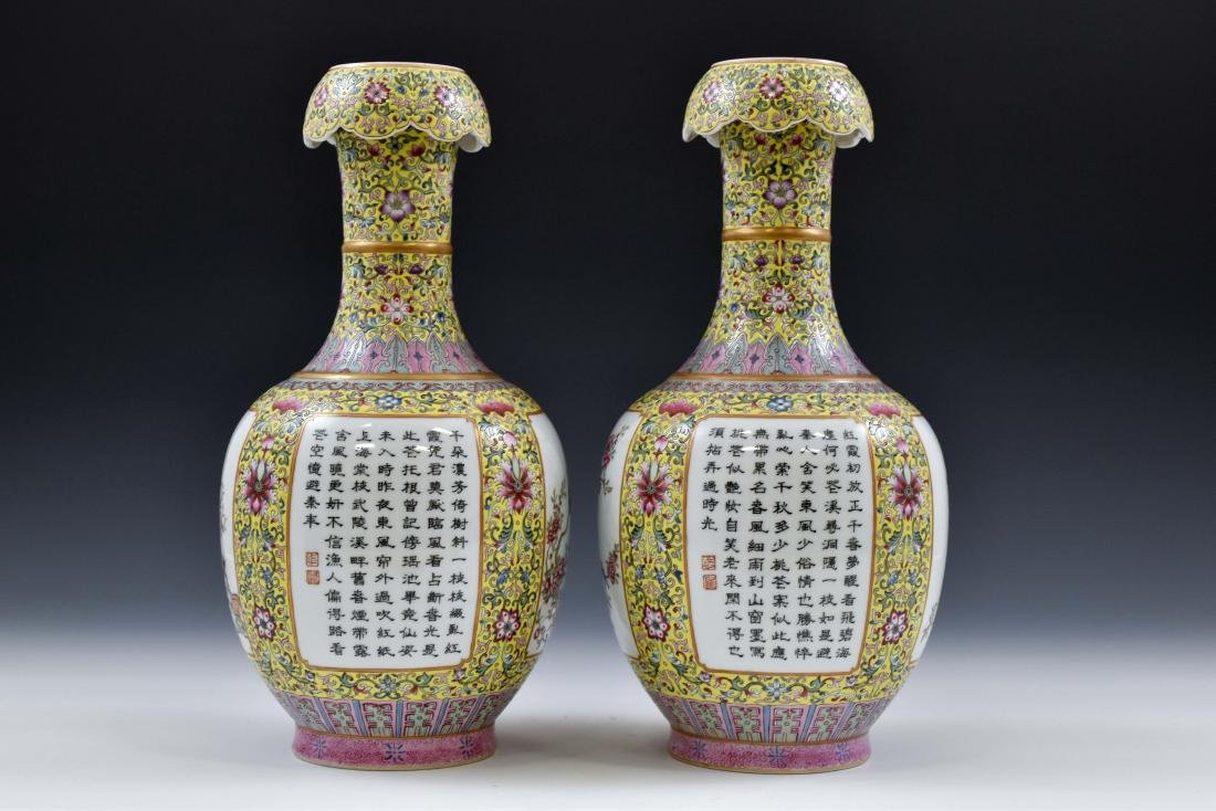 19TH C PAIR OF FAMILLE JAUNE BEGONIA PORCELAIN VASES - 5