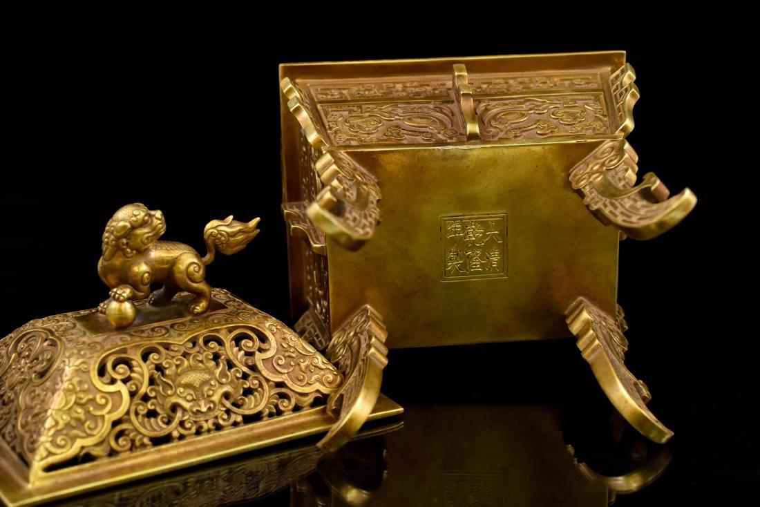 18TH C CHINESE QING GILT SILVER RECTANGULAR CENSER - 9