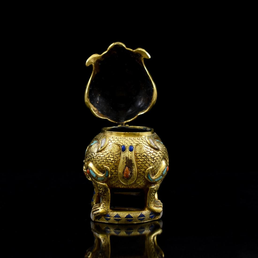18/19TH C GILT BRONZE QILIN COVERED CENSER INLAID - 10