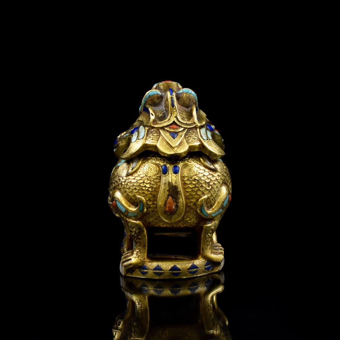 18/19TH C GILT BRONZE QILIN COVERED CENSER INLAID - 2