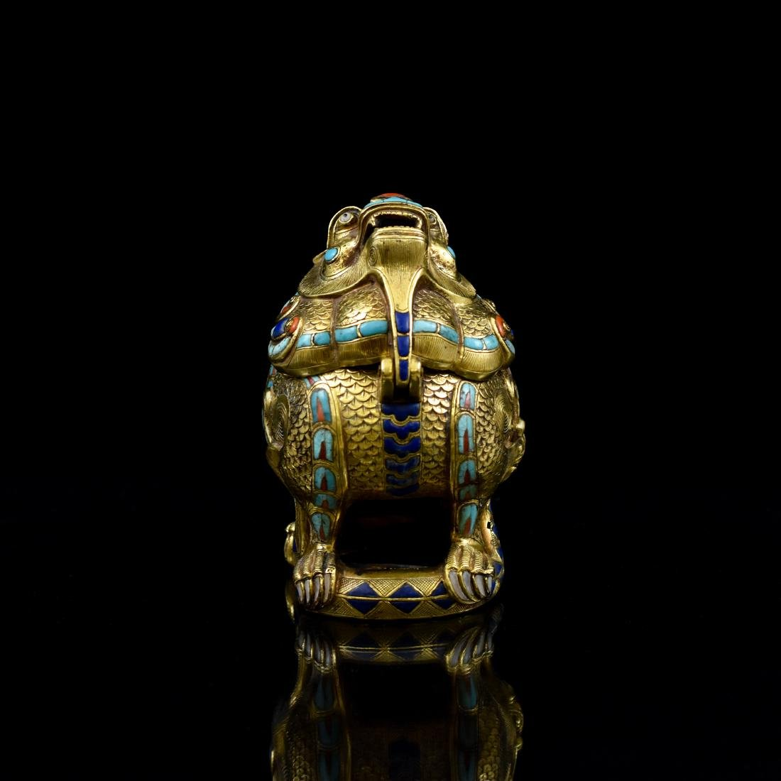 18/19TH C GILT BRONZE QILIN COVERED CENSER INLAID - 3