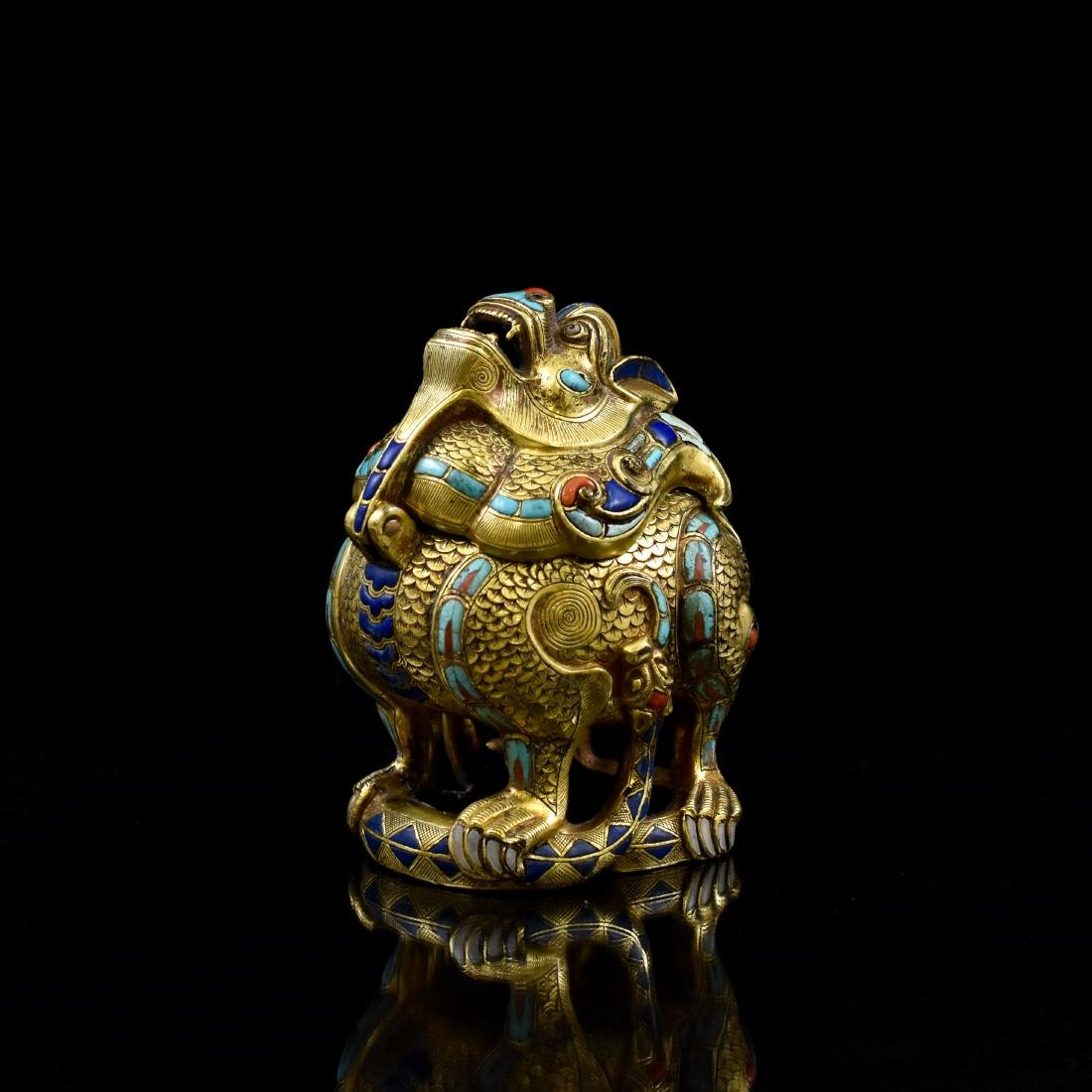 18/19TH C GILT BRONZE QILIN COVERED CENSER INLAID - 4
