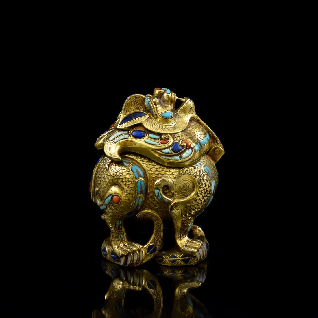 18/19TH C GILT BRONZE QILIN COVERED CENSER INLAID - 5
