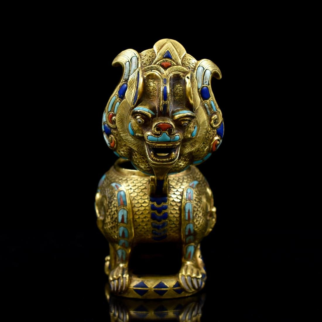 18/19TH C GILT BRONZE QILIN COVERED CENSER INLAID - 9