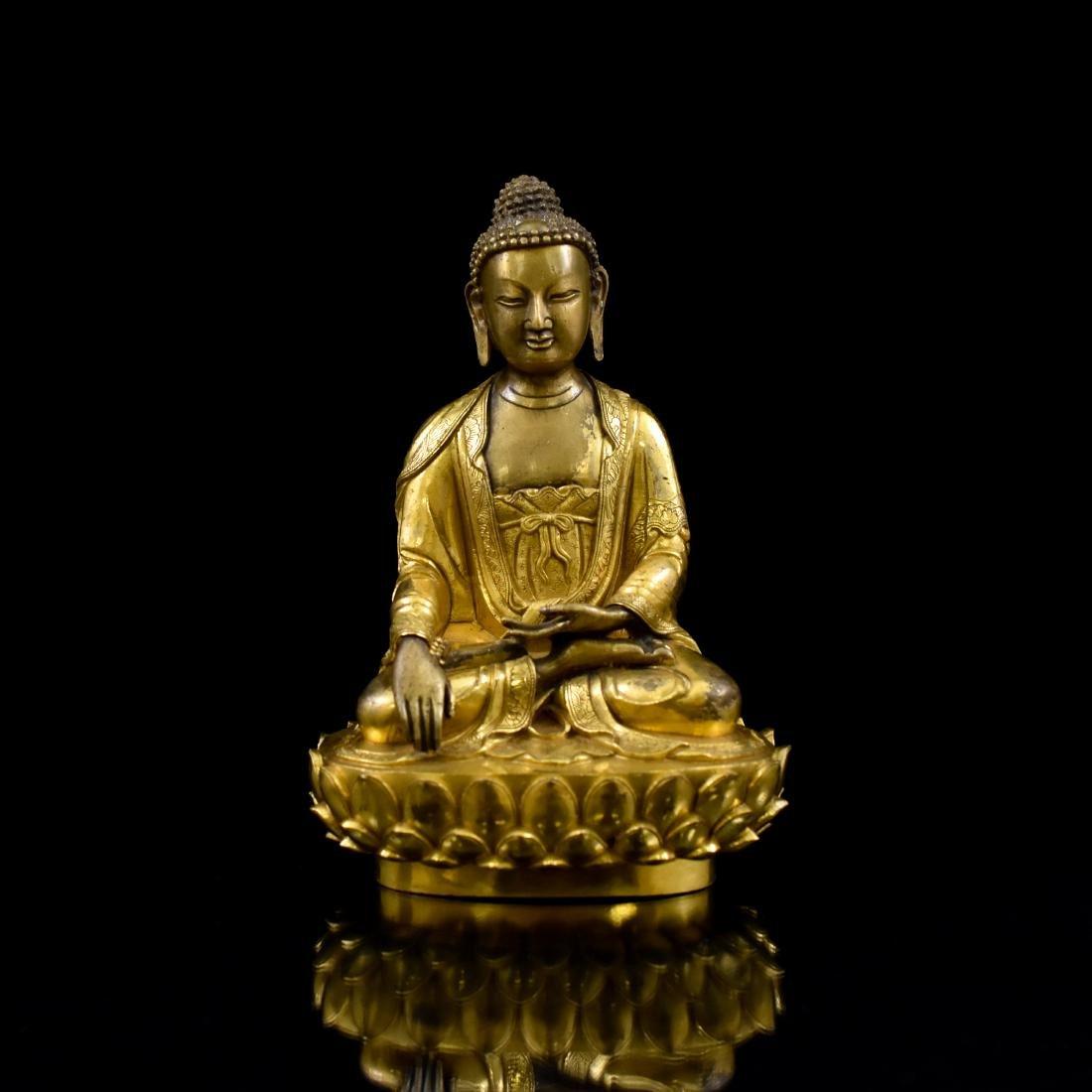 MING GILT BRONZE BUDDHA FIGURE OF SHAKYAMUNI BUDDHA