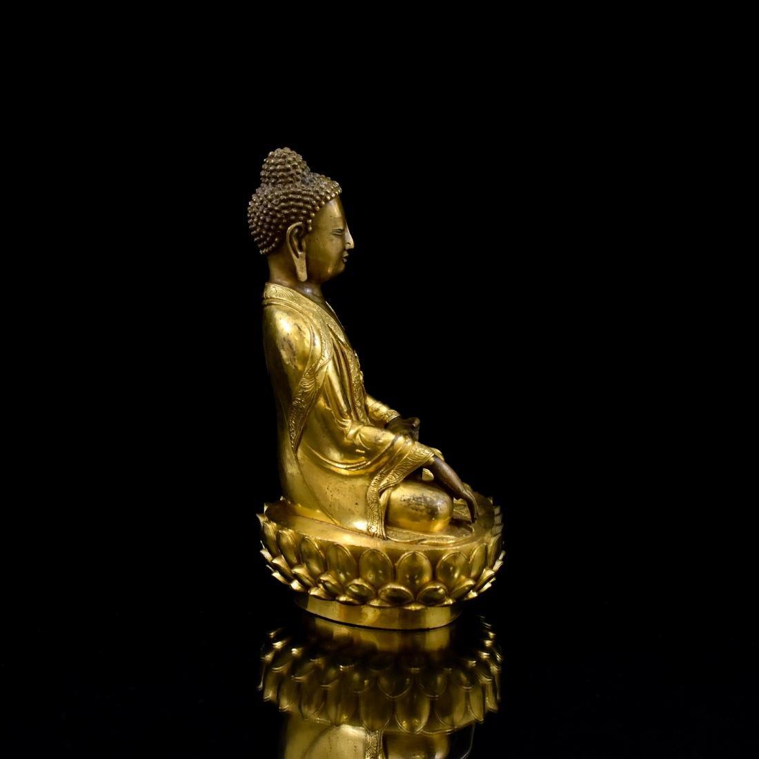 MING GILT BRONZE BUDDHA FIGURE OF SHAKYAMUNI BUDDHA - 2