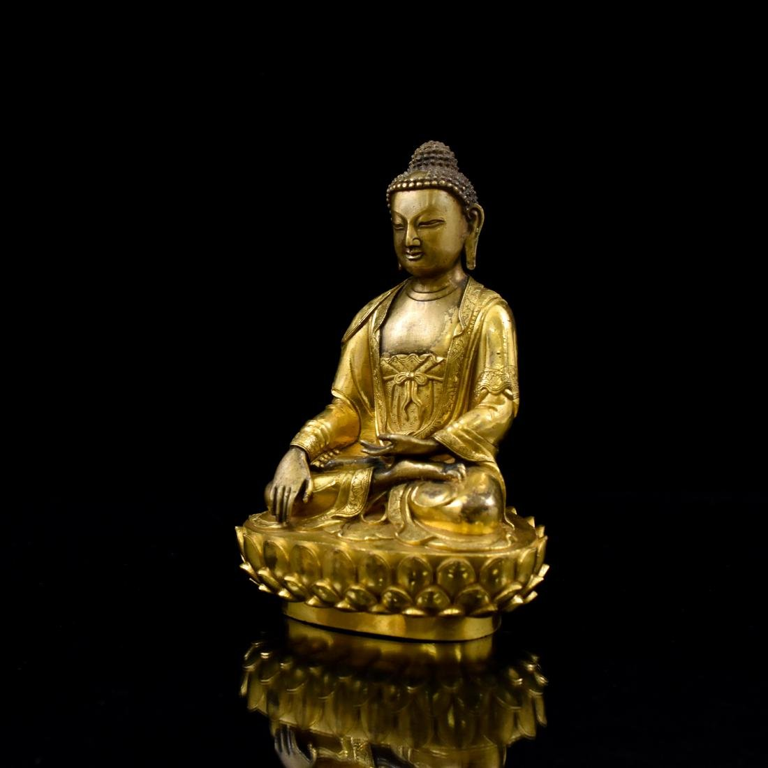 MING GILT BRONZE BUDDHA FIGURE OF SHAKYAMUNI BUDDHA - 5