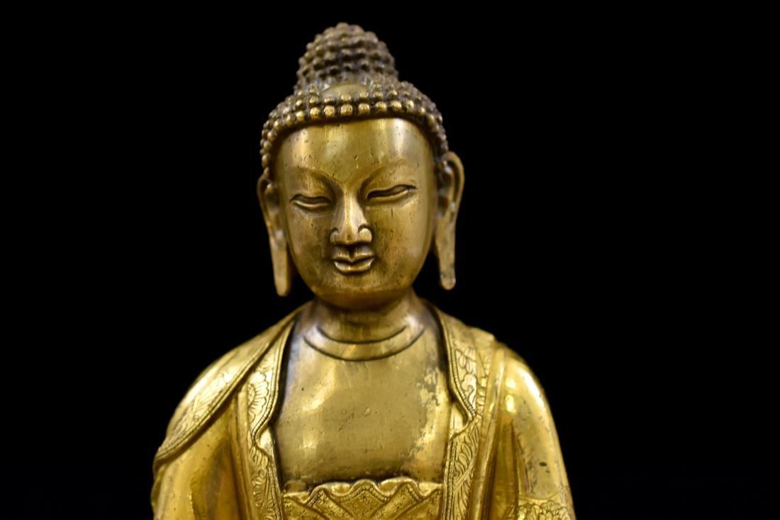 MING GILT BRONZE BUDDHA FIGURE OF SHAKYAMUNI BUDDHA - 7
