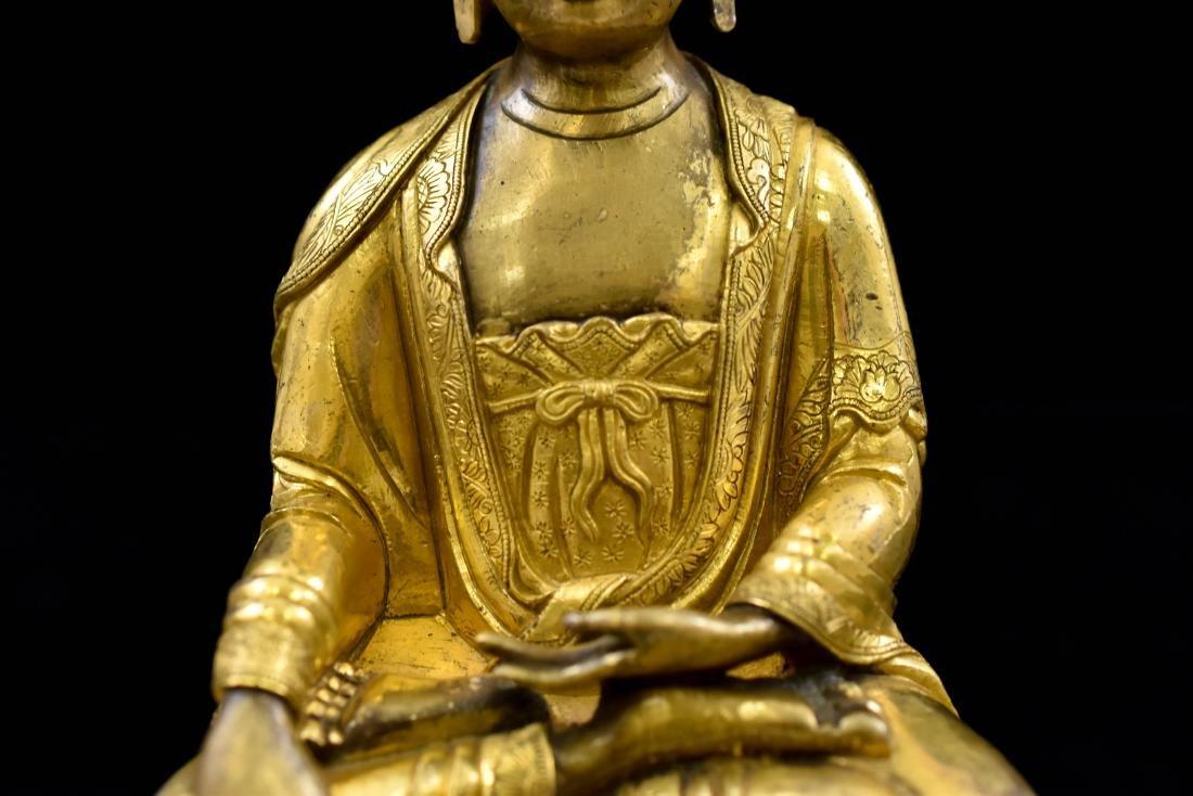 MING GILT BRONZE BUDDHA FIGURE OF SHAKYAMUNI BUDDHA - 8