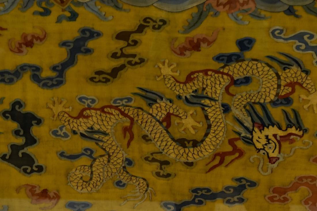 18TH C FRAMED CHINESE FIVE DRAGON SILK KESI - 4