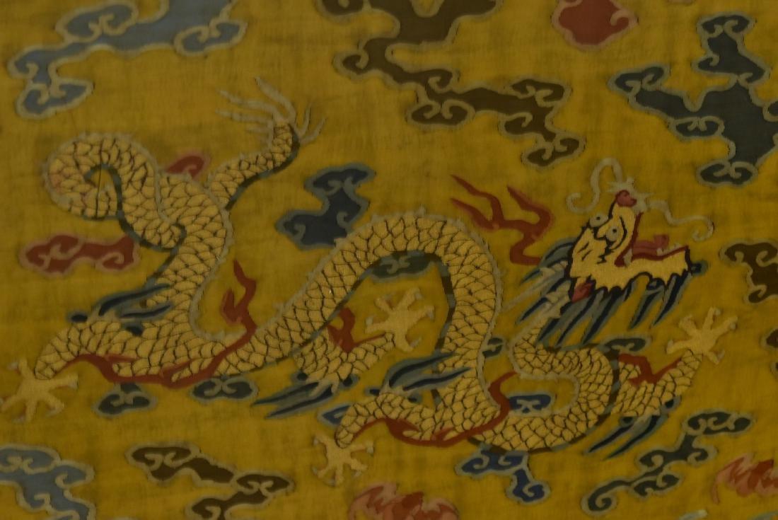 18TH C FRAMED CHINESE FIVE DRAGON SILK KESI - 8