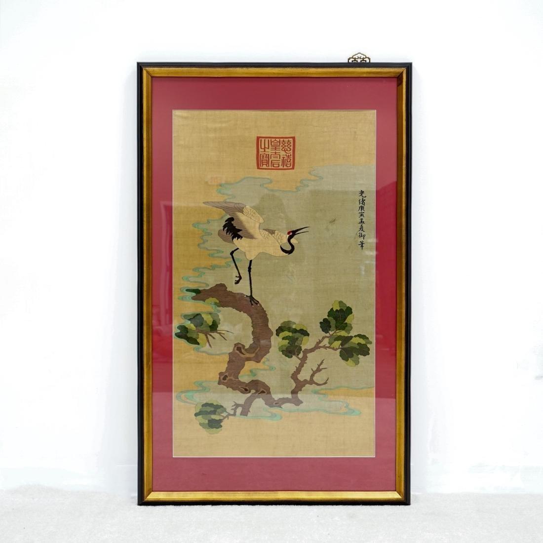 19/20TH C QING GUANGXU FRAMED CHINESE CRANE SILK KESI