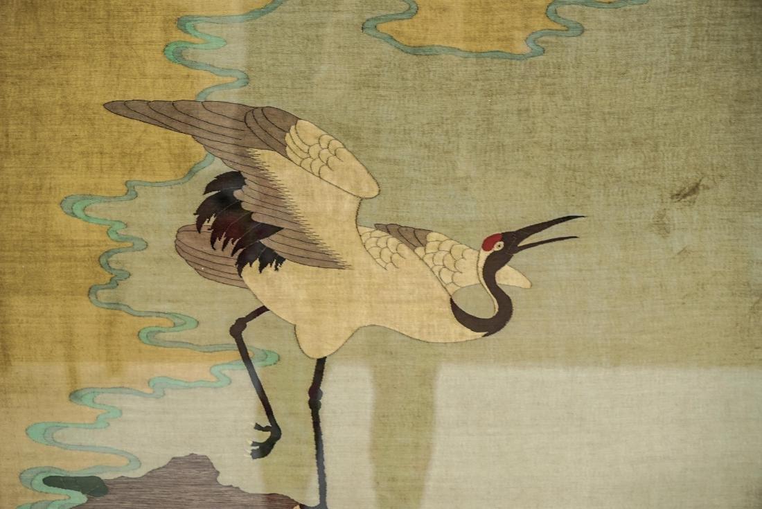 19/20TH C QING GUANGXU FRAMED CHINESE CRANE SILK KESI - 4