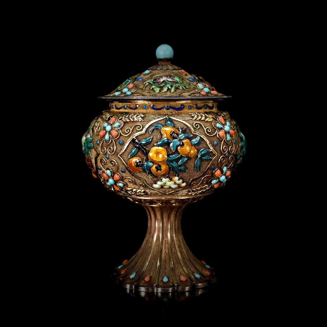GILT SILVER FILIGREE INLAID COVERED HIGH STEM BOWL