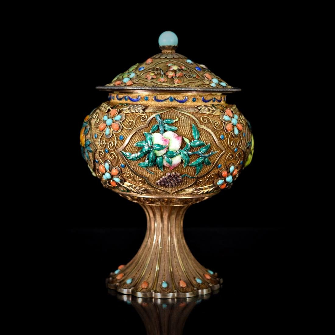 GILT SILVER FILIGREE INLAID COVERED HIGH STEM BOWL - 2