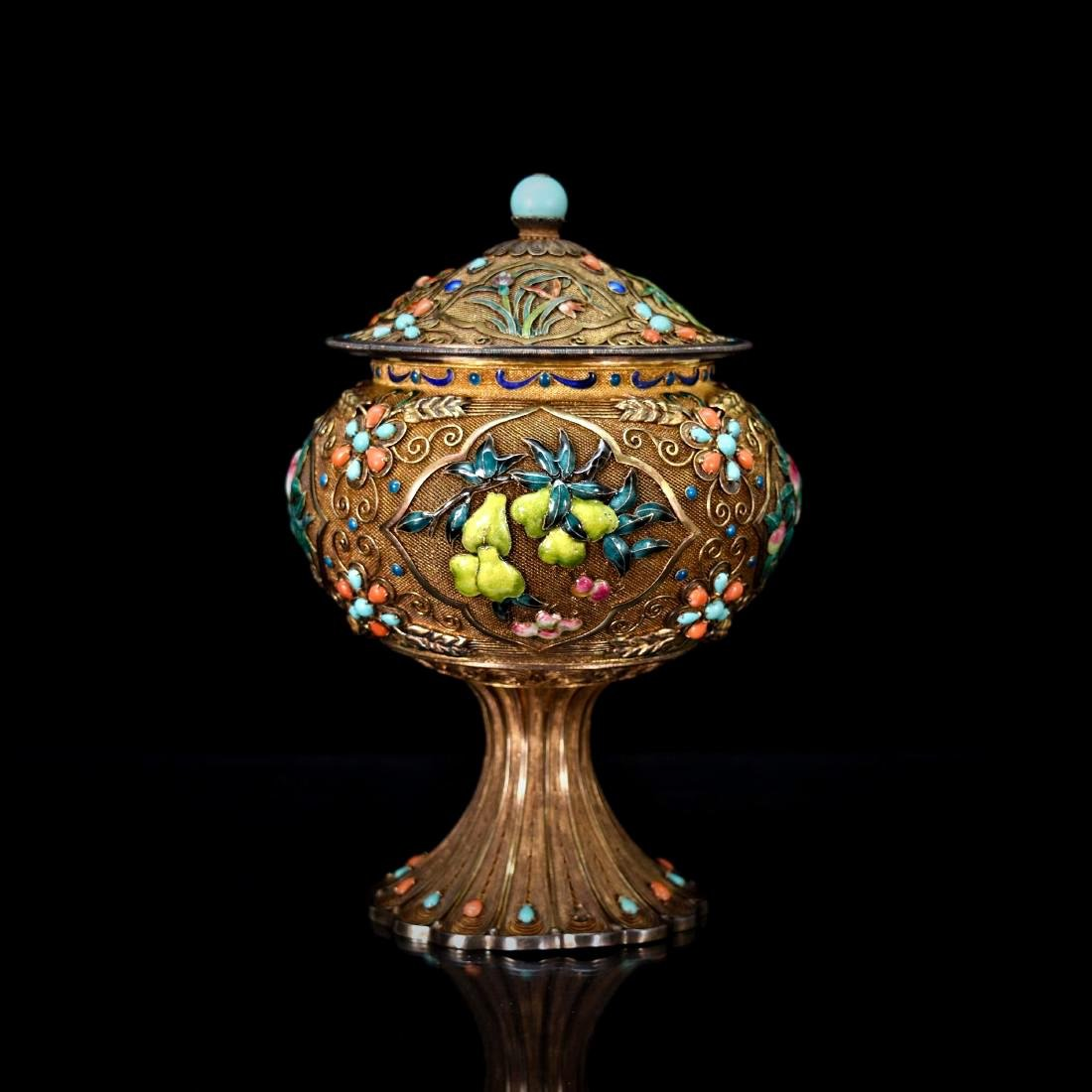 GILT SILVER FILIGREE INLAID COVERED HIGH STEM BOWL - 3