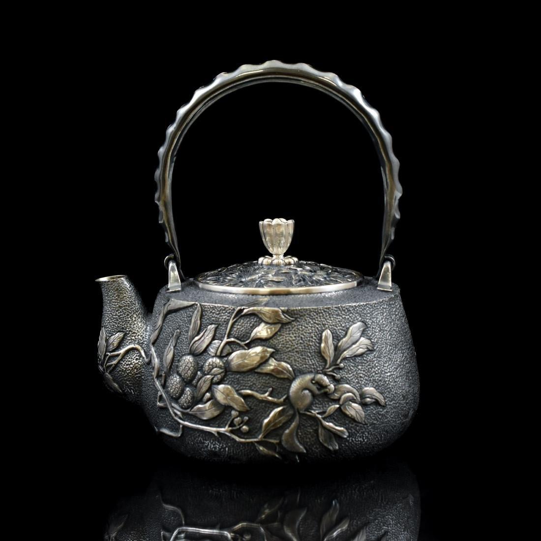 JAPANESE SILVER TEA POT WITH SQUIREL & FRUIT MOTIF