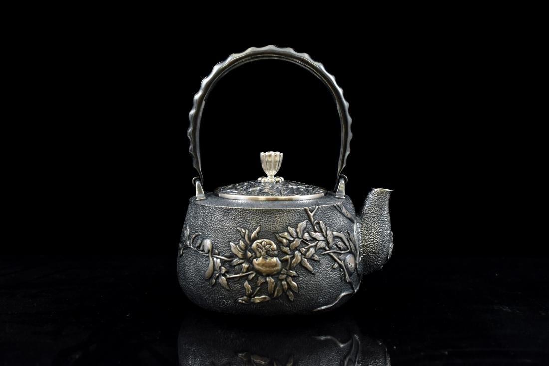 JAPANESE SILVER TEA POT WITH SQUIREL & FRUIT MOTIF - 3