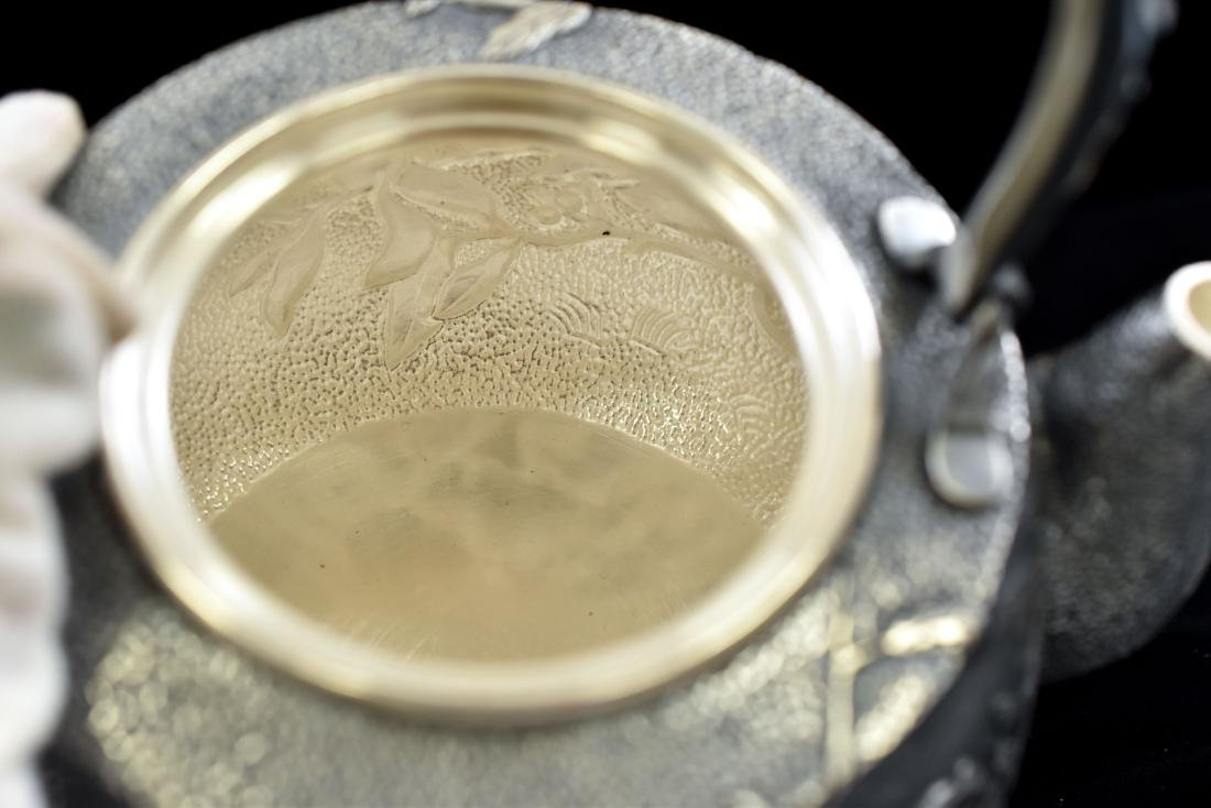 JAPANESE SILVER TEA POT WITH SQUIREL & FRUIT MOTIF - 7