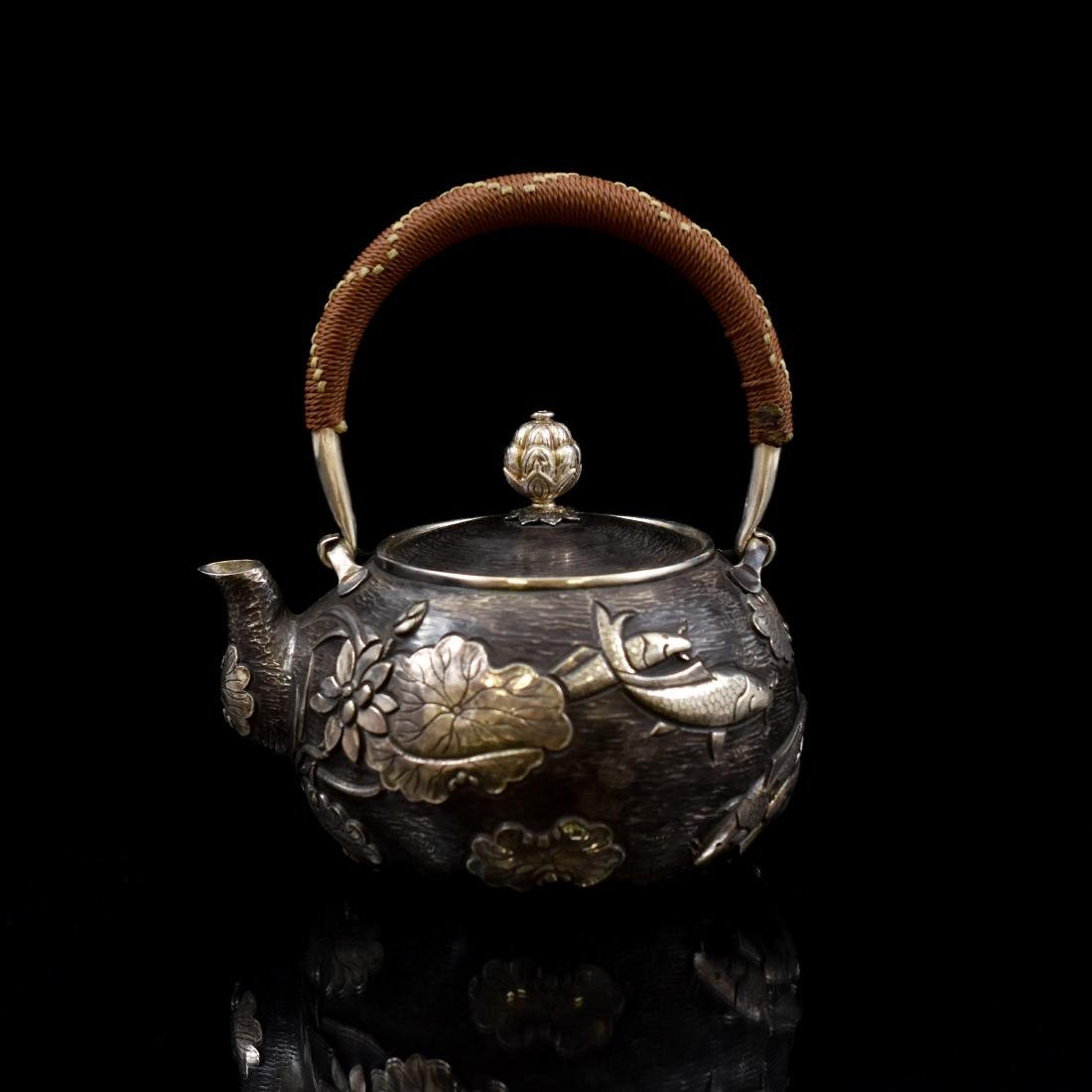 JAPANESE SILVER TEA POT WITH FISH & LOTUS MOTIF
